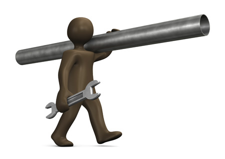 Plumber with spanner, 3d illustration with black cartoon character illustration