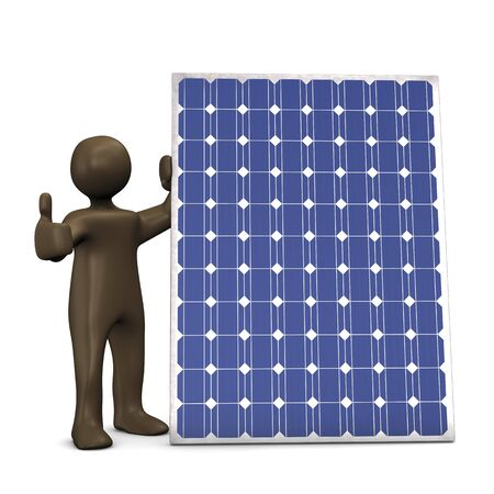 energies: Solar panel, Ok, 3d illustration with black cartoon character