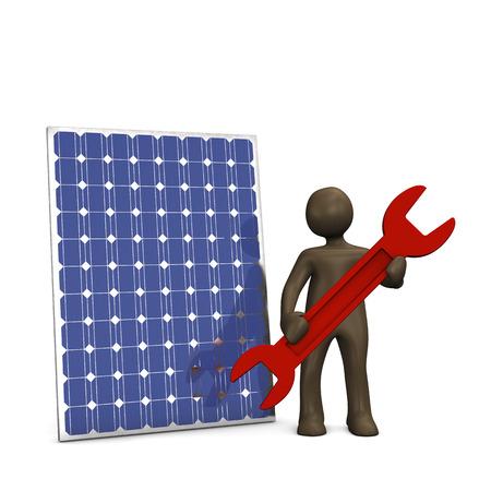 Solarpanel repair service, 3d illustration with black cartoon character. Фото со стока