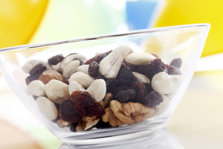 glass bowl: Trail mix in glass bowl