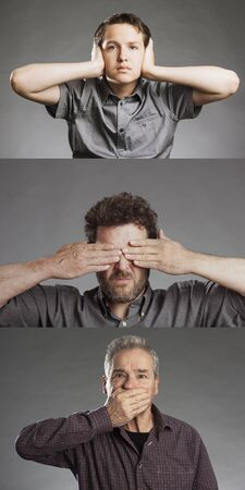 discreet: Group of men, sees no evil, hears no evil, speaks no evil