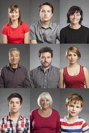 portrait: Emotions, multiple portraits of men and women
