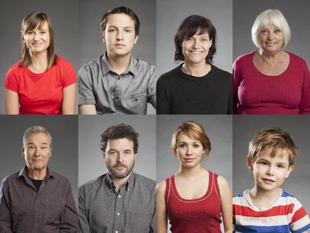 multitud gente: Emociones, m�ltiples retratos de hombres y mujeres