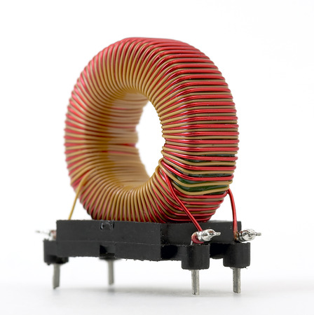 inductive: Inductive component, copper wire coil, toroid Stock Photo