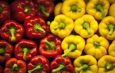 capsicum: Red and yellow bell peppers, capsicum Stock Photo