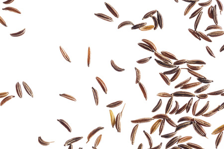 flavorings: Carraway seeds on white background