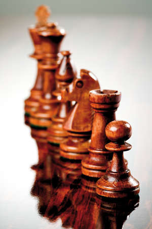 parlour games: Brown wooden chess pieces
