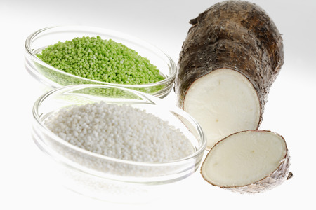 starch: Tapioca starch, manioc root, cassava, bowls Stock Photo