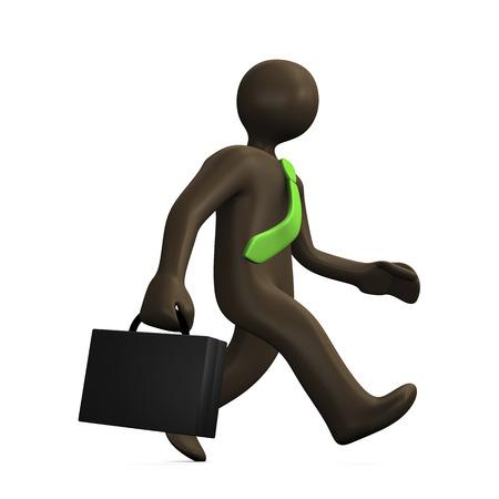 no rush: Running businessman, 3d illustration with black cartoon character