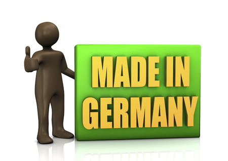 alright: Made in Germany, 3d illustration with black cartoon character