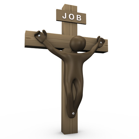 death and dying: Cross, Job kills, 3d illustration with black cartoon character