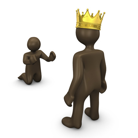 affluence: King and beggar, 3d illustration with black cartoon character
