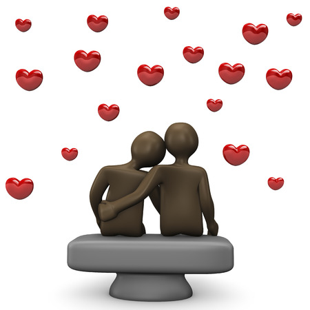 back view man: Couple with red hearts, 3d illustration with black cartoon character