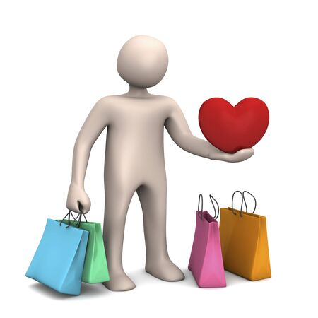 gifting: Cartoon character buying gifts, 3D rendering