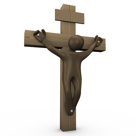 crucified: Crucified cartoon character, 3D rendering Stock Photo