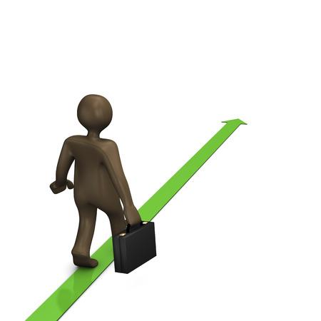 comic figur: Business Weg, 3D-Illustration mit schwarzen Zeichentrickfigur Lizenzfreie Bilder
