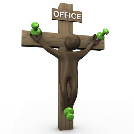 kills: Office kills, 3d illustration with black cartoon character Stock Photo