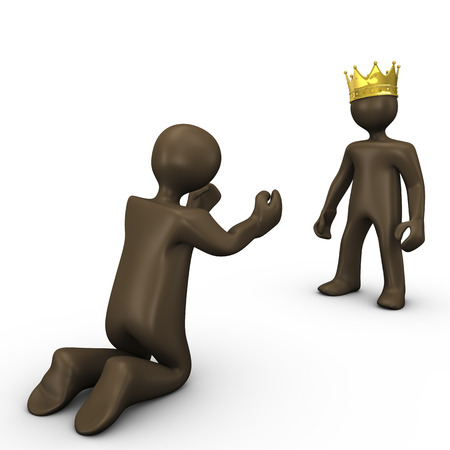 begging: King and beggar, 3d illustration with black cartoon character
