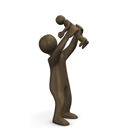comic figur: Mutter mit dem Sch�tzchen, 3D-Illustration mit schwarzen Zeichentrickfigur