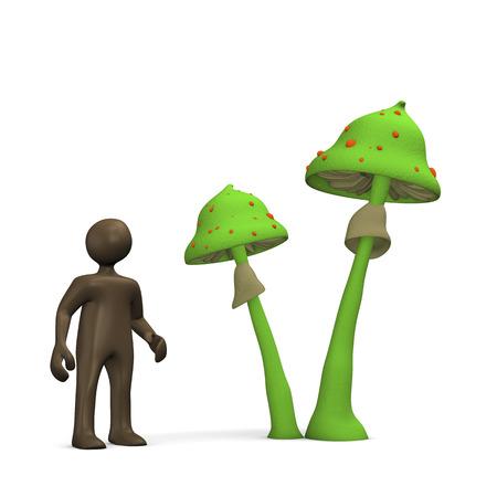 comic figur: Magic Mushrooms, 3D-Darstellung mit schwarzen Zeichentrickfigur