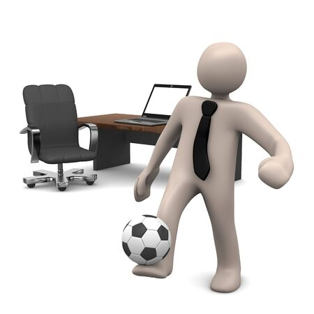 playing soccer: Cartoon character playing soccer in office break, 3D rendering Stock Photo