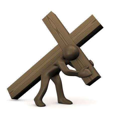 Cartoon character carrying cross, burden,3D rendering