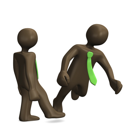 acoso laboral: Personaje de dibujos animados tropezar colega, 3D Foto de archivo