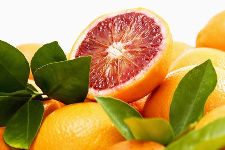 Blood orange and halve, leaves