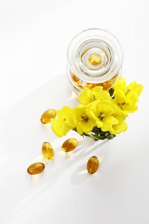 달맞이꽃 오일 캡슐 꽃과 약종상 플라스크 스톡 콘텐츠