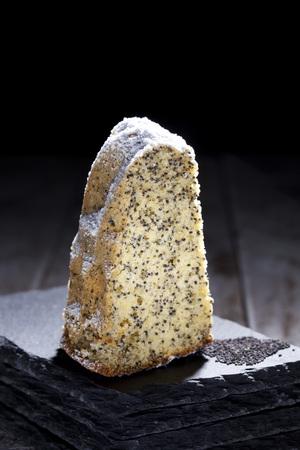schist: Poppy seed cake on slate