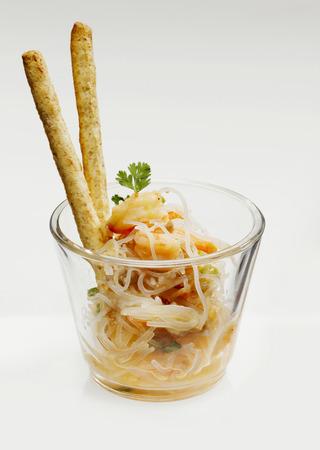 pretzel stick: Glass noodle salad with shrimps Stock Photo