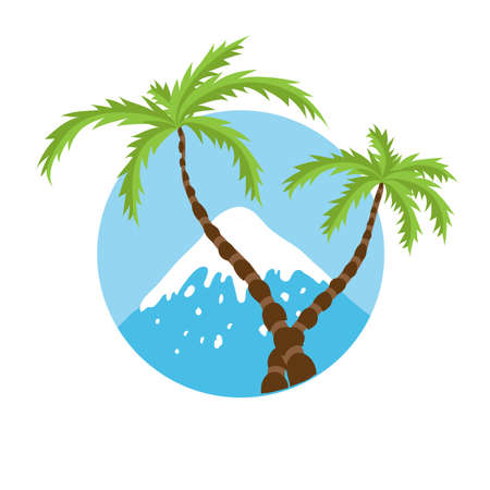 palm tree vector: mountain top and palm tree, vector icon illustration