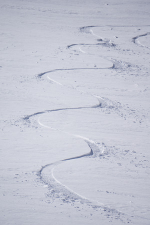 freeride: Tracks on a mountain Slope, extreme freeride in deep snow