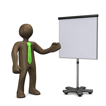 flip chart: Flip chart, 3d illustration with black cartoon character