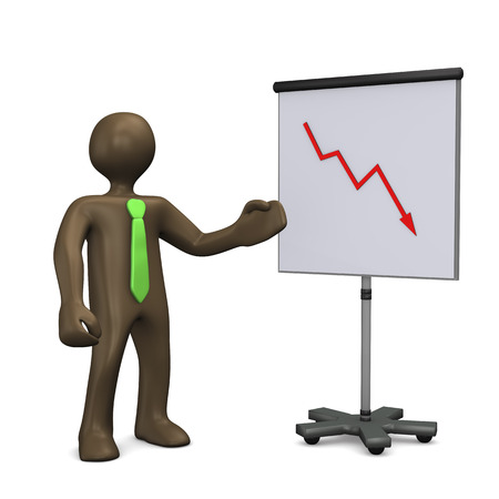 stock price losses: Failure. 3d illustration with black cartoon character.