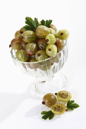 halved  half: Gooseberries in glass bowl