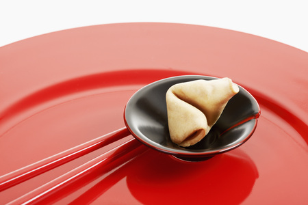 fortune cookie: Fortune cookie in small bowl on red plate