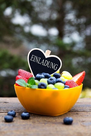 fruit bowl: Fruit bowl with heart, invitation