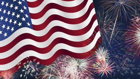 july 4th fourth: Fourth of July Background, Fireworks, USA themed composites Stock Photo