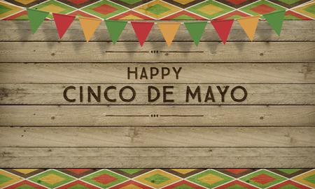 Cinco de Mayo, de VS Mexicaanse Viering, Achtergronden. Hout met tekst