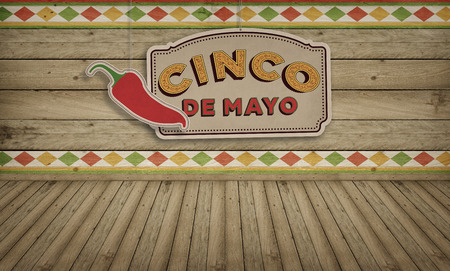 advertisment: Cinco de Mayo, USA Mexican Celebration, Backgrounds. Wood with text