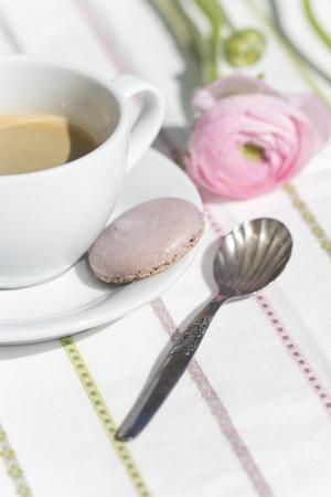 buttercup: Pink Persian buttercup and cup of coffee Stock Photo