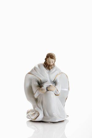 male likeness: Christmas decoration, crib figurine of Joseph Stock Photo
