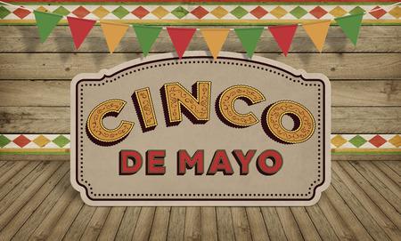 シンコ ・ デ ・ アメリカ メキシコ祭典背景テキストを持つ木材 写真素材