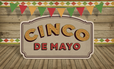 mexican: Cinco de Mayo, USA Mexican Celebration Backgrounds. Wood with text Stock Photo