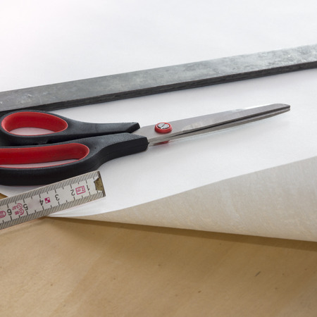 exactitude: Hand tools, wallpapering, scissors and pocket ruler