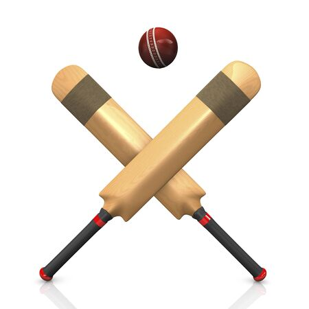 murcielago: Bates de cricket con la pelota, Ilustraci�n 3D Foto de archivo