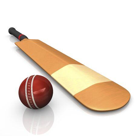 cricket bat: Cricket bat with ball, 3D Illustration