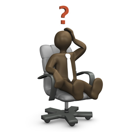 swivel chairs: 3d Illustration, comic figurine, office chair, question mark