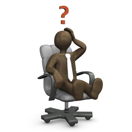 overwork: 3d Illustration, comic figurine, office chair, question mark